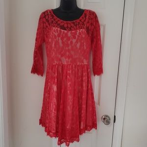Free People Sexy Red Lace Dress 3/4 Sleeve Size 6